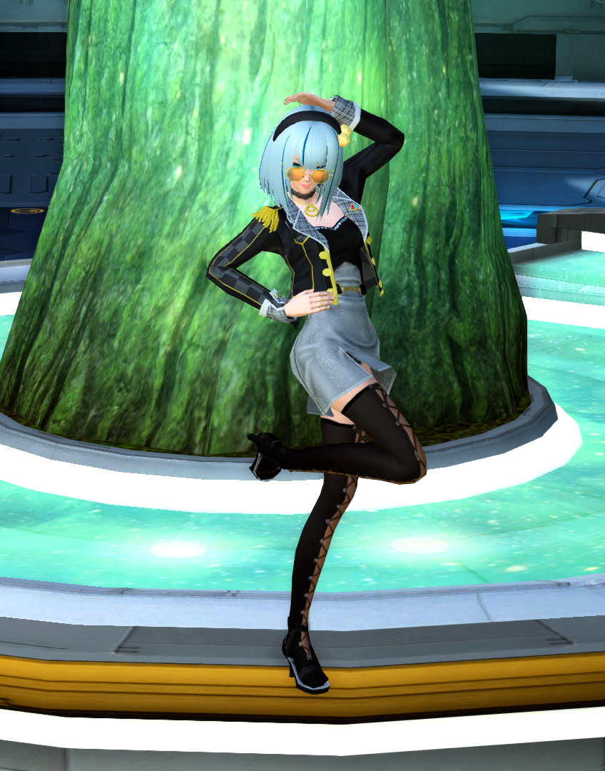 PSO2 Fashion AC Scratch Zooey Hair Off-Shoulder Dress