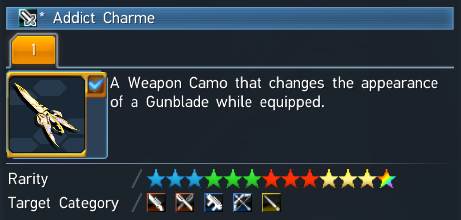 PSO2 Weapon Camo Addict Charme