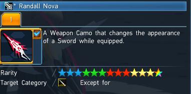 PSO2 Randall Nova Weapon Camo Item Details